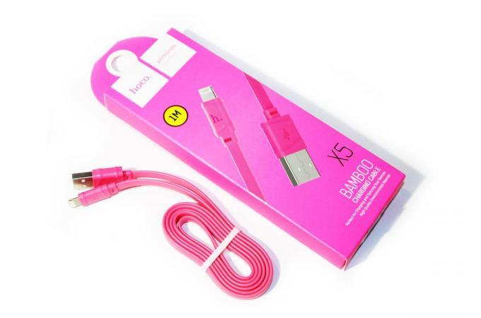 Кабель USB HOCO X5 Bamboo Type-C cable розовый 1 метр