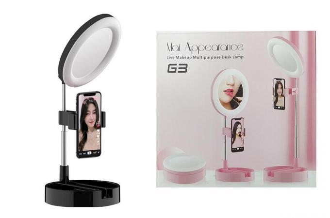Кольцевая лампа настольная G-3 (16 см) для фото и видеосъемки с креплением телефона и зеркалом черная