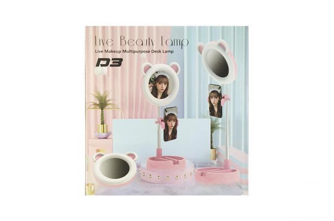 Кольцевая лампа настольная D3 (16 см) для фото и видеосъемки с креплением телефона и зеркалом розовая