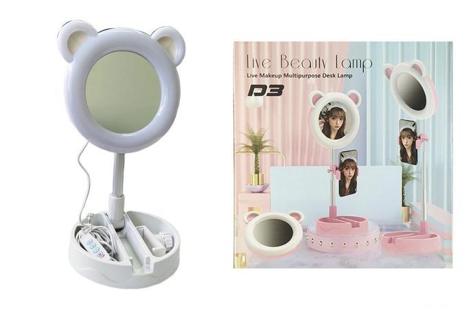 Кольцевая лампа настольная D3 (16 см) для фото и видеосъемки с креплением телефона и зеркалом белая