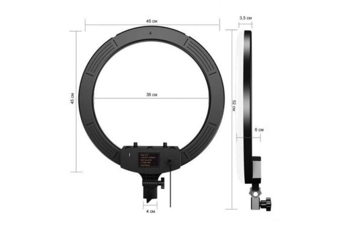 Кольцевая лампа RGB многоцветная (45 см) MJ18 для фото и видеосъемки черная (без треноги)