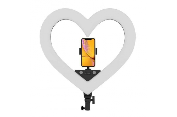 "Кольцевая лампа RGB многоцветная (48 см) MJ48 ""Сердце"" для фото и видеосъемки черная (без треноги)"