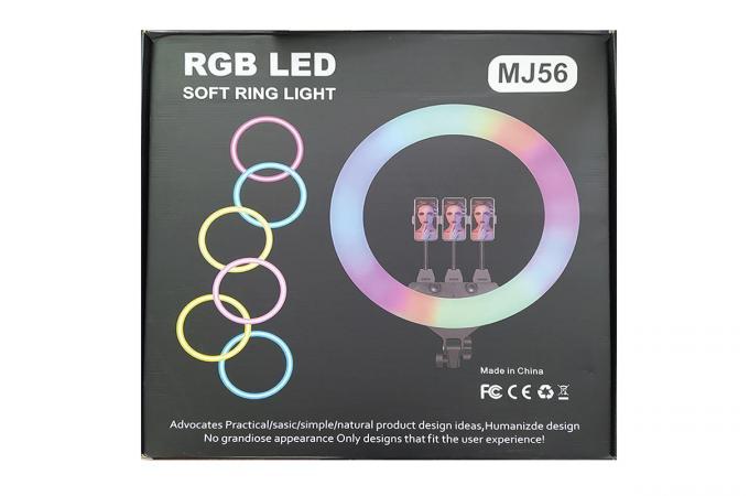 Кольцевая лампа RGB многоцветная (56 см) MJ56 для фото и видеосъемки черная (без треноги)