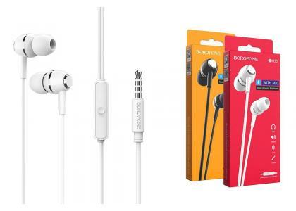 Наушники BOROFONE BM36 Acura universal earphones 3.5мм цвет белая
