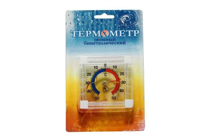 Термометр оконный биметаллический (форма круг/квадрат, мятая упаковка)