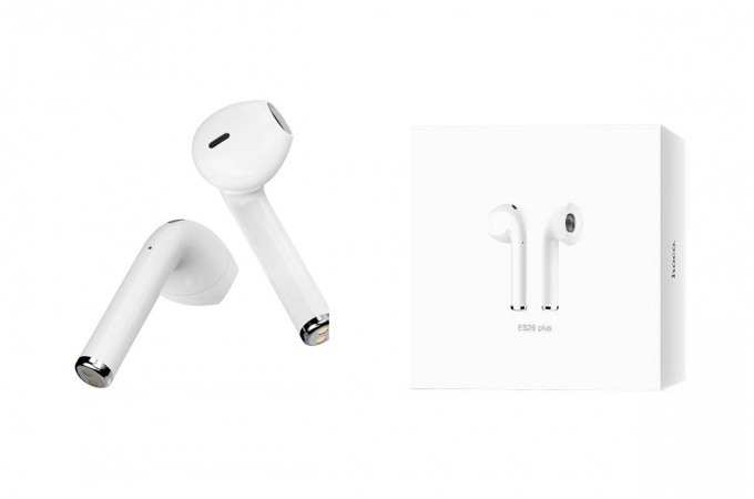 Беспроводные наушники ES26 Plus Original series apple wireless  HOCO белые + заушники