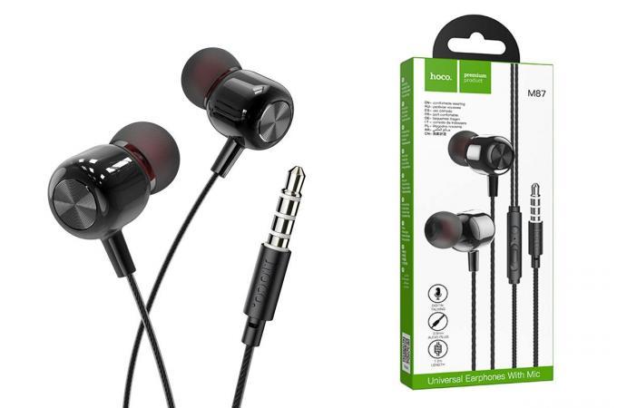 Наушники HOCO M87 String wired earphones with with microphone черная