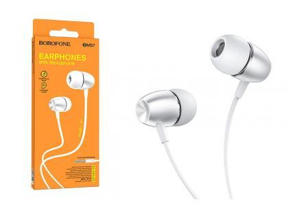 Наушники BOROFONE BM57 Platinum Universal earphones  with microphone3.5мм цвет серебристая