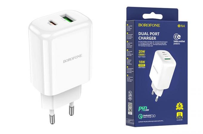 Сетевое зарядное устройство USB + USB-C BOROFONE BN4 Premium PD+ QC 3.0 белый