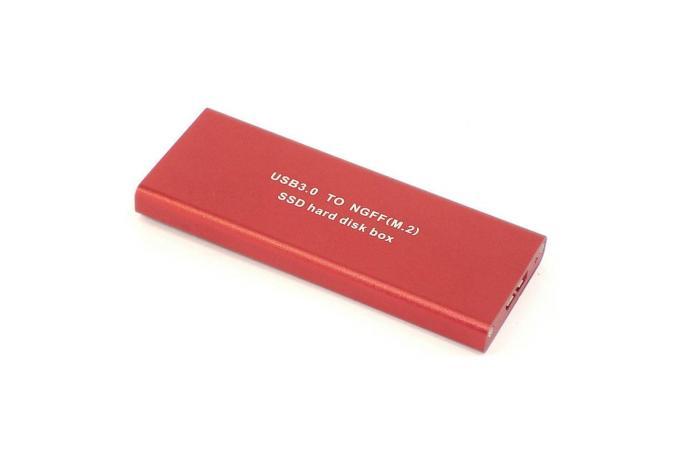 Кейс для SSD диска NGFF (M2) с выходом USB 3.0 алюминиевый, красный
