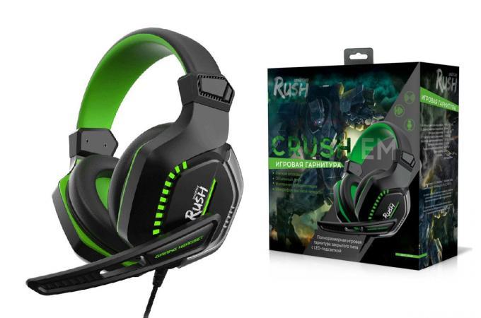 Наушники игровые Smartbuy RUSH CRUSH'EM, LED-подс, динамики 50мм, микрофон, черн/зел (SBHG-9640)