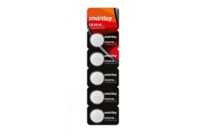 Батарейка литиевая Smartbuy CR2016 BL5 цена за блистер 5 шт